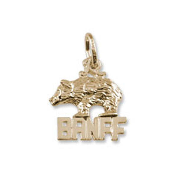 Banff Natiional Park Bear Charm or Pendant in Gold or Silver by Rembrandt Charms